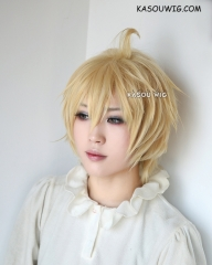Owari no Seraph Mikaela Hyakuya light yellow blonde wig . many layers with ahoge