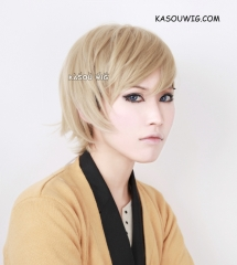 APH / Axis Power Hetalia Norway short side parted beige blonde cosplay wig with ahoge. SP11