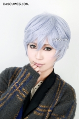 short pastel ice bluer naturally curly cosplay wig . cute harajuku wig