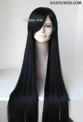L-4 KA032 long straight versatile jet black cosplay wig  100cm / 39.5""