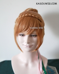Disney Movie Frozen Queen Anna updo honey brown with pre-styled cosplay wig with bun