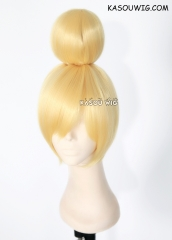 Tinkerbell short blonde cosplay wig with cute bun on top