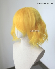 S-4 /  bright yellow blonde loose beach waves lolita . harajuku wig with bangs .35cm SP35
