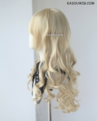 L-1 /  KA009 Beach Blonde 75cm long curly wig . Hiperlon fiber