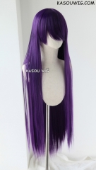 "100cm / 39.5""  long straight versatile grape purple cosplay wig  ( SP37)"