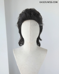 Final Fantasy XV / FF XV  Gladiolus Amicitia 43cm long black brown all back messy hair cosplay wig