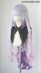 "90cm / 35.5"" Kobayashi-san Chi No Maid Dragon Kanna Kamui silver purple ombre 90cm long wavy cosplay wig"