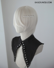 S-2 / SP05 pearl white short bob smooth cosplay wig with long bangs . Hiperlon fiber