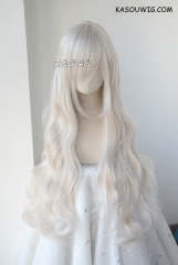 L-3 / SP05 pearl white long layers loose waves cosplay wig . heat-resistant fiber
