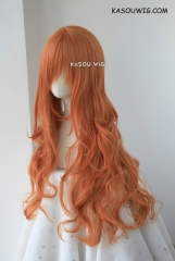 L-3 / SP15 pumpkin orange long layers loose waves cosplay wig . heat-resistant fiber