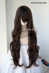 L-3 / KA030 deep brown long layers loose waves cosplay wig . heat-resistant fiber