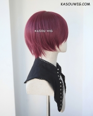 S-2 / SP18 wine red short bob smooth cosplay wig with long bangs . Tangle Resistant fiber
