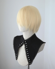 S-2 / SP08 Creamy Blonde short bob smooth cosplay wig with long bangs . Tangle Resistant fiber