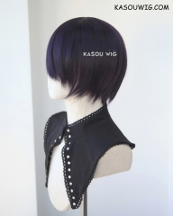 S-2 / SP31 deep purple short bob smooth cosplay wig with long bangs . Tangle Resistant fiber