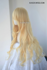Your Lie in April Kaori Miyazono . Touhou Project Yukari Yakumo . L-3 /  KA008 yellow blonde long layers loose waves cosplay wig