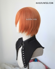 S-2 / SP15 pumpkin orange short bob smooth cosplay wig with long bangs . Tangle Resistant fiber