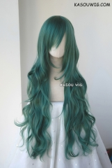 L-3 / KA065 dark olive green long layers loose waves cosplay wig . heat-resistant fiber
