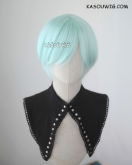 S-2 / SP16 pastel mint green short bob smooth cosplay wig with long bangs . Tangle Resistant fiber
