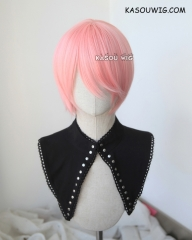 S-2 / SP12 pastel pink short bob smooth cosplay wig with long bangs . Tangle Resistant fiber