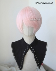 S-2 / SP34 pale pink short bob smooth cosplay wig with long bangs . Tangle Resistant fiber