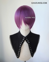 S-2 / SP40 grape purple short bob smooth cosplay wig with long bangs . Tangle Resistant fiber