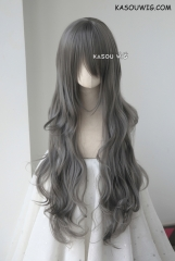 L-3 / KA005 steel gray long layers loose waves cosplay wig . heat-resistant fiber