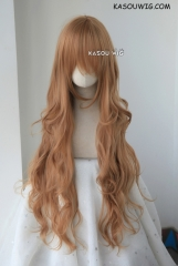 L-3 /  KA023 caramel long layers loose waves cosplay wig . heat-resistant fiber