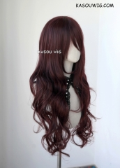 L-3 / KA058 dark reddish brown long layers loose waves cosplay wig . heat-resistant fiber