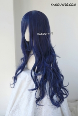 L-3 / SP03 deep blue long layers loose waves cosplay wig . heat-resistant fiber