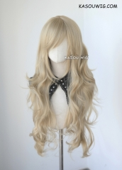 L-3 / SP11 beige blonde long layers loose waves cosplay wig . heat-resistant fiber
