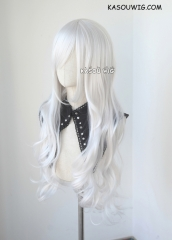L-3 / KA002 silver white long layers loose waves cosplay wig . heat-resistant fiber