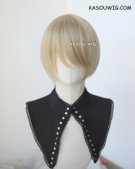 S-2 / SP11 beige blonde short bob smooth cosplay wig with long bangs . Tangle Resistant fiber