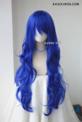 L-3 / KA050 royal blue long layers loose waves cosplay wig . heat-resistant fiber