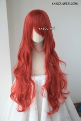 L-3 / KA042 apple red long layers loose waves cosplay wig . heat-resistant fiber