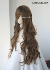 L-3 / KA025 Raw Umber  brown long layers loose waves cosplay wig . heat-resistant fiber