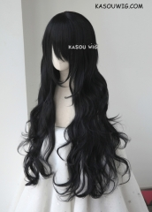 L-3 / KA032 jet black long layers loose waves cosplay wig . heat-resistant fiber