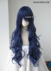 L-3 / KA051 navy blue long layers loose waves cosplay wig . heat-resistant fiber