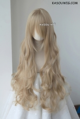 L-3 / KA015 ash blonde long layers loose waves cosplay wig . heat-resistant fiber