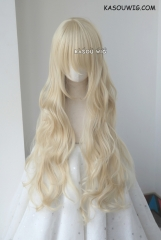 L-3 / KA006 light blonde long layers loose waves cosplay wig . heat-resistant fiber