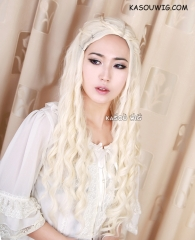 Daenerys Targaryen Game of thrones / A Song of Ice and Fire pale blonde curly cosplay wig 80cm  SP25