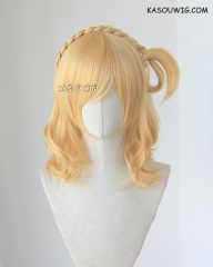 Love Live Sunshine . Aqours Ohara Mari  pastel yellow blonde medium curly cosplay wig. SP01