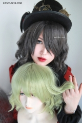 S-4 / SP09 snow dark gray beach waves lolita . harajuku wig with bangs .35cm .
