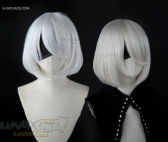 ( 2 colors ) NieR: Automata 2B short bob silver white cosplay wig  with long bangs. KA002 . SP05