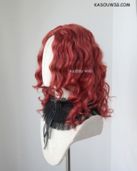Bangless medium length angled red curly wig. spiral curls. 43cm long