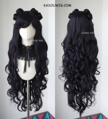 "97cm / 38"" Sailor Moon Luna deep purple long wavy cosplay wig with pre-styled buns. SP31"
