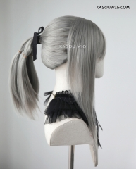 Final Fantasy XV Aranea Highwind warm gray pre-styled ponytail cosplay wig