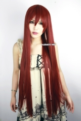 "100cm / 39.5""  long Fire Emblem Cordeli / Steins Gate Makise Kurisu / Fairy Tail Erza Scarlet straight dark red cosplay wig . SP24"