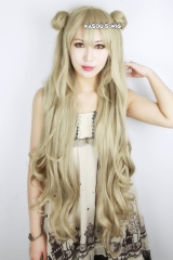 "100cm/39.5"" Code Geass Akito the Exiled Layla Malkal sand blonde long body wave cosplay wig with 2 buns . SP02"