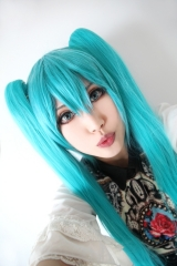 "[ 2 COLORS ] 100cm / 39.5"" Vocaloid Hatsune Miku long teal blue straight clip-on pigtail cosplay wig"