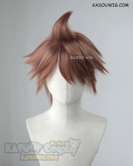 Danganronpa Naegi Makoto short pinkish brown layered wig with a spike on top